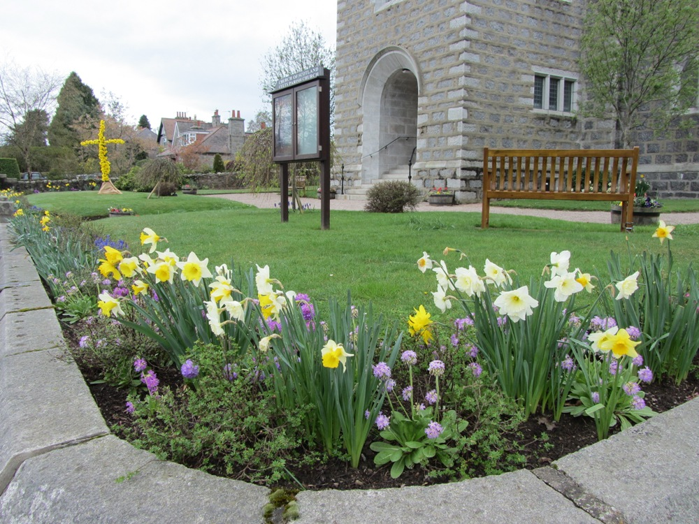 church garden in spring